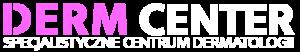 Logo z białym napisem: Dermcenter - specjalistyczne centrum dermatologii